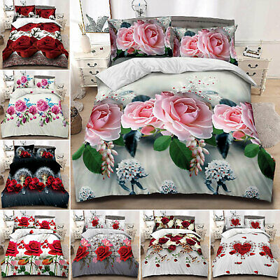 Soft 3D Printed Duvet Cover Floral Animal Bed Set W Fitted Sheet Double King UK • 22.99£