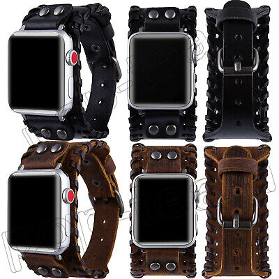 AU16.39 • Buy Genuine Leather Cuff For Apple Watch Band 40/44mm IWatch Strap SE Series 6 5 4 3