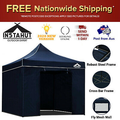 AU174.18 • Buy 3x3m Tent Heavy Duty Gazebo Instahut Portable Outdoor Camping Floor Canopy Blue