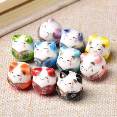 5pcs Fortune Cat 16x14mm Loose Ceramic Porcelain Beads For Jewelry Making • 3.45£