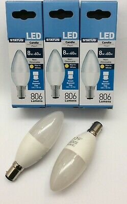 3 X 8W = 60W LED B15 SBC Candle Lamps Status Pearl 806 Lumens Warm White Bulbs • 8.95£