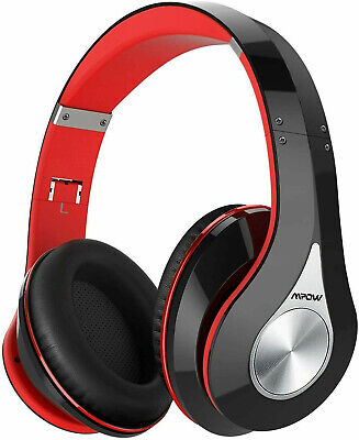 Upgraded Mpow 059 Wireless Bluetooth Headphones, 65Hrs Hi-Fi Stereo Black-Red • 29.95£
