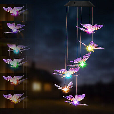 Hanging Wind Chimes Solar Powered LED Light Colour Changing Garden Outdoor Décor • 7.39£