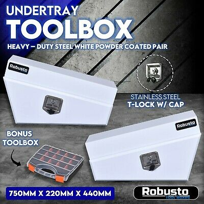 AU299.99 • Buy Pair Of Under Tray Undertray Tool Box White Steel Underbody Toolbox Ute Vehicle