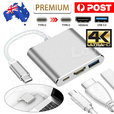 AU12.95 • Buy 3 IN 1 USB 3.1 Type-C USB-C To Female HUB 4K HD HDMI Data Charging Cable Adapter