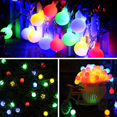 LED Globe Bulb Ball Fairy String Lights Mains Plug In Garden Outdoor Indoor UK! • 14.39£