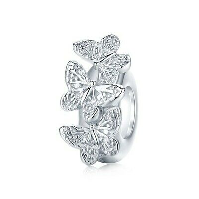 AU25.99 • Buy SOLID Sterling Silver Non Slip Spacer Dainty Butterflies Charm By Pandora's Wish