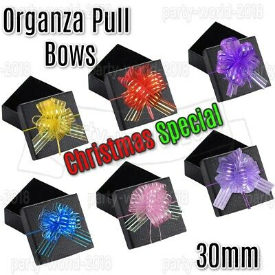 30mm ORGANZA PULL BOWS Quality Wedding Car Gift Wrap Pew Party Poly Bow Ribons • 2.49£