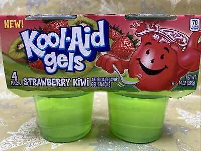 Kool-Aid  STRAWBERRY KIWI  Flavored Gels Snacks (4 Cups) (UK 🇬🇧BASED SELLER) • 11.99£