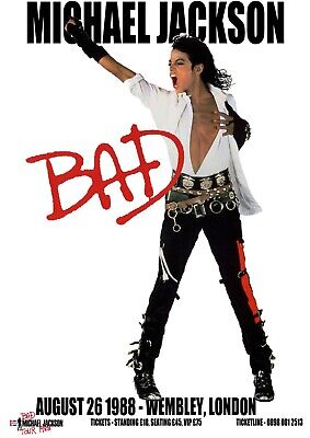 MICHAEL JACKSON BAD 1988 LONDON CONCERT  Print Poster Wall Art Picture A4 + • 3.99£