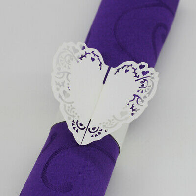100 X Paper Napkin Rings Tissue Buckle Butterfly Wedding Decor,Pink,White • 9.74£