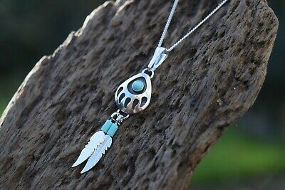 Native American 925 Sterling Silver Turquoise Gemstone Bear Paw 16   Necklace • 18.99£
