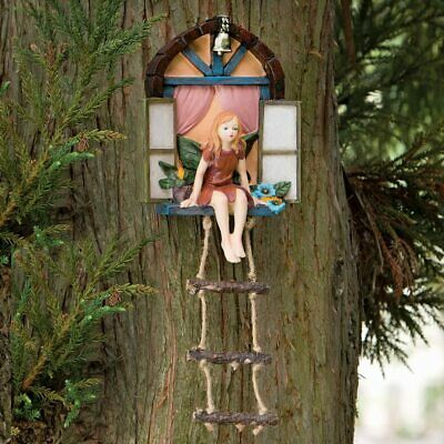 Fairy House With Ladder Hanging Tree Sculpture Magical High Quality Garden Decor • 18.95£