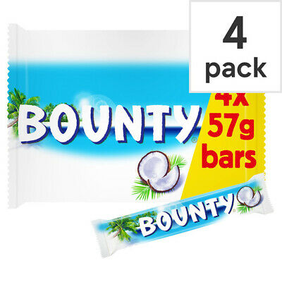 4 X Bounty Chocolate Pack Of 4 X 28.5g Bars   !!! Free Delivery !!! • 9.99£
