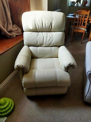 Cream Leather La-Z-Boy Recliner With Footstool  • 55£