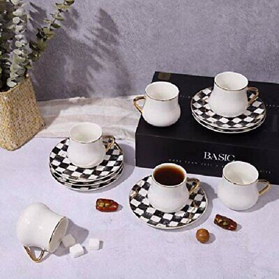 Luxury Bone China Tea Coffee Set Of 6 Cups + Saucers Checkered Design • 67.94£