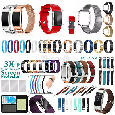 AU11.16 • Buy For Fitbit Charge 2 Leather/Silicon/Metal Replacement Wristband Watch Band Strap