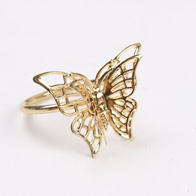 4Pcs Metal Golden Butterfly Napkin Rings Napkin Buckles Napkin Holders For Party • 5.86£
