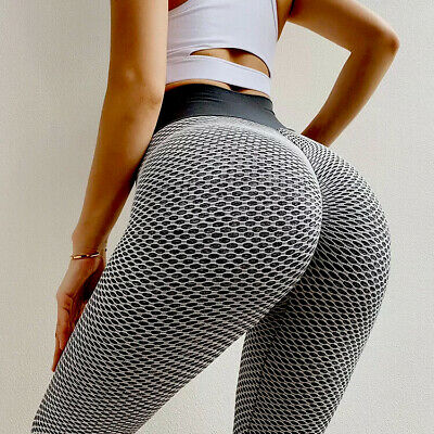 Ladies Honeycomb Anti-Cellulite Leggings Gym Trouser Women High Waist Yoga Pants • 12.99£