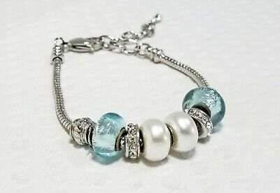 Pandora-Inspired Silver Plated Bracelet With Baby Blue And Pearl Bead  Charms • 13.55£