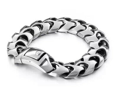Mens Silver Bracelet For Men Biker Link Chain Luxury Solid 316l S Steel Vertebra • 32.77£