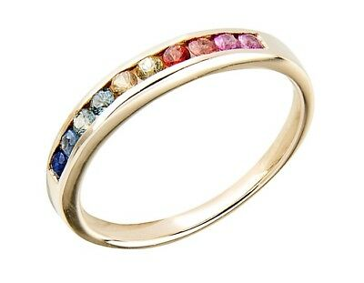 AU329 • Buy S R165 Genuine 9K Yellow Gold Natural Fancy Rainbow Sapphire Band Ring Size U