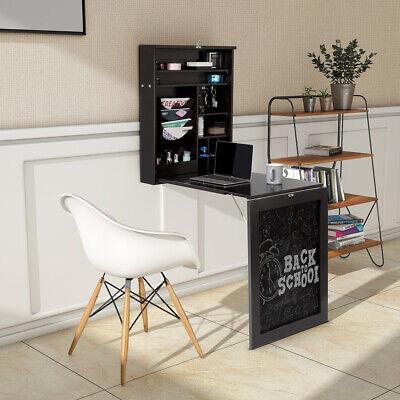 £99.95 • Buy Wall Mounted Folding Kitchen Dining Table Writing Desk W/ Adjustable Shelves