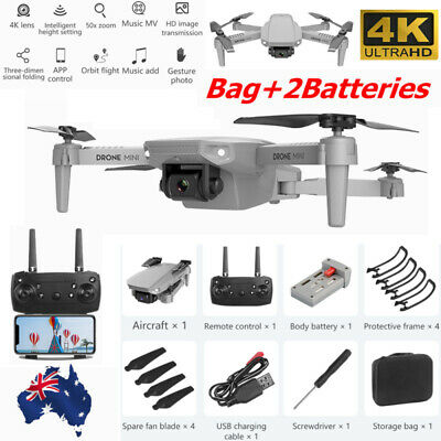 AU49.99 • Buy RC Drone 4k HD Wide Angle Camera 1080P WiFi FPV Foldable Selfie Drone W/2Battery