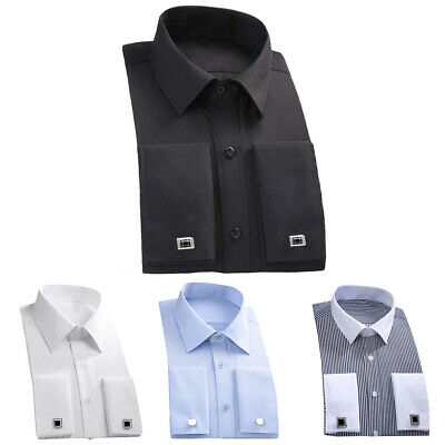 £12.62 • Buy Ey_ Fashion Men French Cuff Long Sleeve Cotton Business Top Shirt With Cufflinks