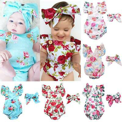 Newborn Baby Girl Floral Ruffle Romper Bodysuit Jumpsuit+Headband Outfit Clothes • 9.78£