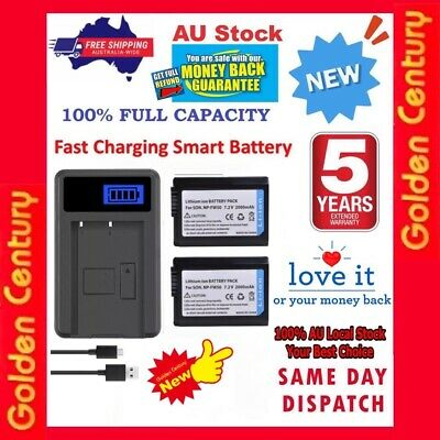 AU29.95 • Buy 2x 2000mAh NP-FW50 Battery + LCD1 Charger For Sony A6000 A6300 A6500 A5000 A3000