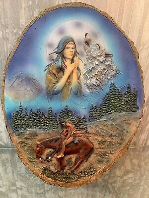 Native American Indian Wolf Wall Plaque End Of The Trail • 24.99£