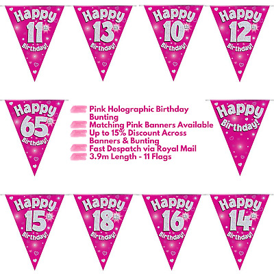 £2.20 • Buy Pink Happy Birthday Party Holographic Bunting 11 Flags 3.9m Multi Buy Discount