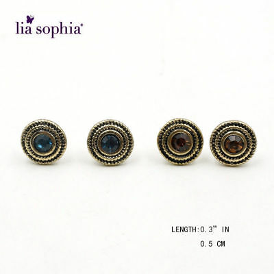 $ CDN12.62 • Buy New Lia Sophia Vintage Gold Tone Blue & Amber Crystal Stud Earrings BOGO 2 Pair