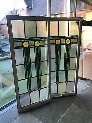 2 X Beautiful Vintage Stained Glass Windows, Door Panels. • 300£