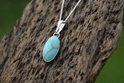 £18.99 • Buy Native American 925 Sterling Silver Turquoise Droplet Gemstone Necklace