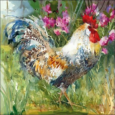 £1.29 • Buy Aquarelle Rooster 4 Napkins 33x33cm Paper Decoupage Table Easter BUY 4 GET 1FREE