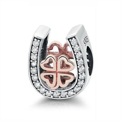 AU25.99 • Buy Sterling Silver & Rose Gold Lucky Horse Shoe Clover Charm By Pandora's Wish