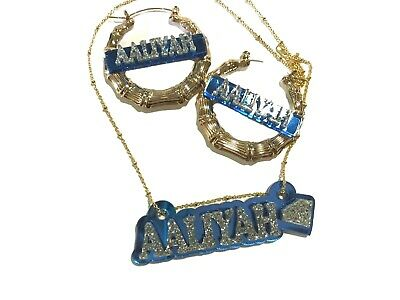 £34.35 • Buy Matching Necklace Earrings Name Plate Custom Personalized Gold With Diamond Look