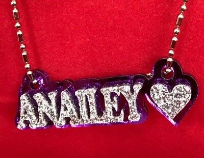 £10.14 • Buy Necklace Name Plate Custom Name Necklace Heart Design Laser Cut Any Name Pendant