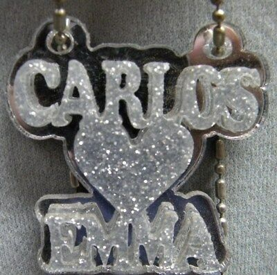 £13.17 • Buy Couple Name Necklace Double Name Plate Personalize Heart Laser Cut Custom Design