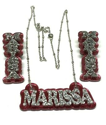 £34.35 • Buy Matching Necklace And Earrings Name Plate Custom Personalized With Diamond Look