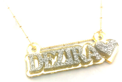 £19.71 • Buy Name Plate Custom Name Necklace Personalized Nameplate Gold With Diamond Look!