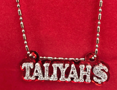 £10.24 • Buy Name Plate Custom Name Necklace Nameplate Laser Cut Diamond Look Gorgeous Design