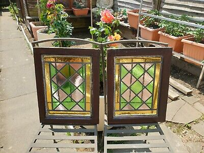 Pair Of Leaded Stained Glass Window Panel Victorian Original Harlequin  • 180£