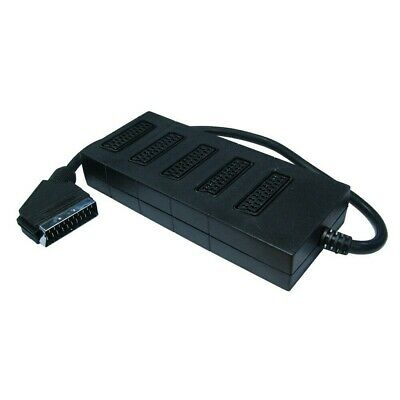 5 Way SCART Lead Cable Adapter Splitter Extension Box Unused • 3.99£