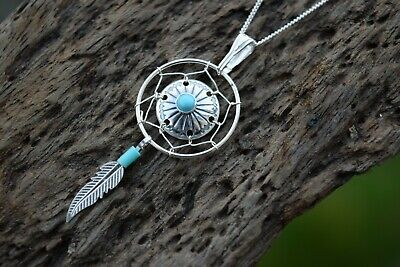 Native American Medicine Shield 925 Sterling Silver Gemstone Turquoise Necklace • 18.99£