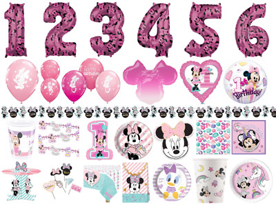Minnie Mouse Children's Birthday Party Tableware Decorations Plates Cups Napkins • 2.89£