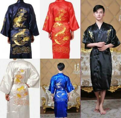 UK Men Silk Satin Japanese Chinese Kimono Dressing Gown Bath Robe Nightwear New • 19£