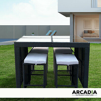 AU549.95 • Buy Arcadia Furniture Outdoor 5 Piece Bar Table Set Rattan And Cushions Patio Dining